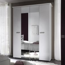 Lisbon Mirror Wardrobe In White And Gloss Fronts With 4 Doors