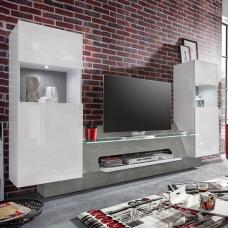 Accent TV Wall Unit In White Gloss Fronts Concrete Grey And LED