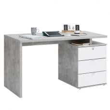 Livingno Computer Desk In Concrete Colour And White High Gloss