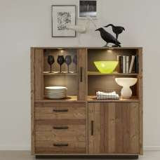 Logan Wooden Highboard In Bramberg Spruce With LED Lighting