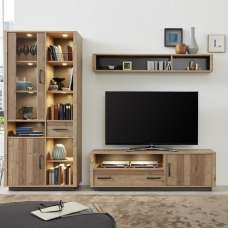 Logan Living Room Set 3 In Bramberg Spruce With LED Lighting