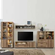 Logan Living Room Set 5 In Bramberg Spruce With LED Lighting