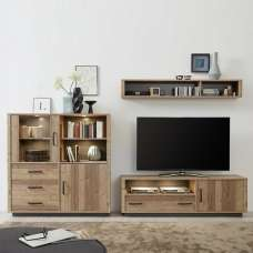 Logan Living Room Set 6 In Bramberg Spruce With LED Lighting