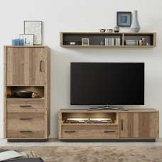 Logan Living Room Set 7 In Bramberg Spruce With LED Lighting
