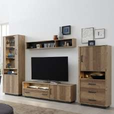 Logan Living Room Set In Bramberg Spruce With LED Lighting