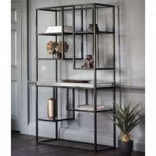 Lombok Mirrored Open Display Unit With Matt Black Metal Frame
