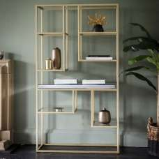 Lombok Mirrored Open Display Unit With Champagne Metal Frame