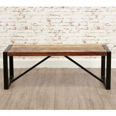 London Urban Chic Wooden Small Dining Bench With Steel Base