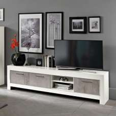 Lorenz Large TV Stand In Marble Effect And White High Gloss