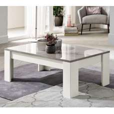 Lorenz Coffee Table Rectangular In Marble And White High Gloss