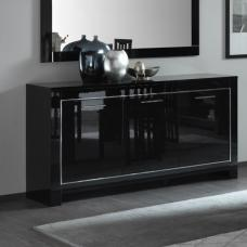 Lorenz Sideboard In Black High Gloss With 3 Doors