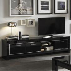 Lorenz Large TV Stand In Black High Gloss With 3 Doors