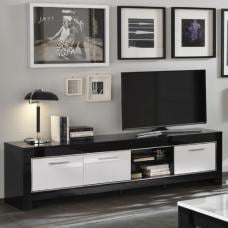 Lorenz Large TV Stand In Black And White High Gloss With 3 Doors
