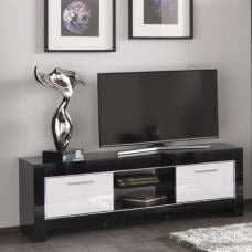 Lorenz Medium TV Stand In Black And White High Gloss With 2 Door