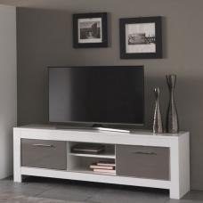 Lorenz Medium TV Stand In White And Grey High Gloss