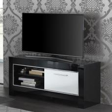 Lorenz Small TV Stand In Black And White High Gloss With 1 Door