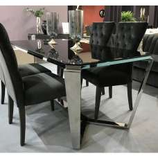 Lucerne Glass Dining Table In Black With Stainless Steel Base