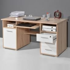 Luciana Wooden Computer Desk In Sonoma Oak And White