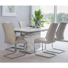 Luisa Dining Table In White Marble Effect With 6 Presto Chairs