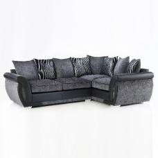 Luxor Modern Corner Sofa In Black PU And Grey Fabric