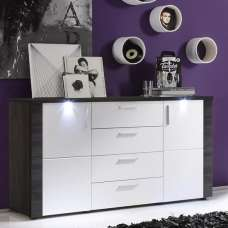 Lynton Sideboard In Grey Ash With White Fronts And LED