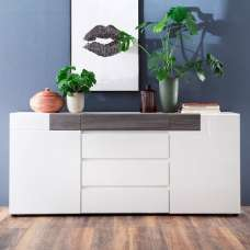 Madsen Sideboard In White Smoky Silver With High Gloss Fronts