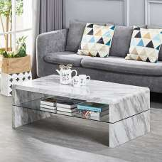 Marbella Coffee Table In Grey High Gloss Marble Effect