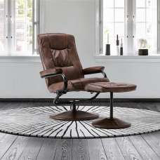 Maison Relaxing Swivel Chair With Footstool In Tan Faux Leather