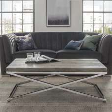 Malta Wooden Coffee Table In Grey With Stainless Steel Legs