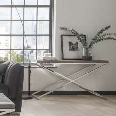 Malta Wooden Console Table In Grey With Stainless Steel Legs