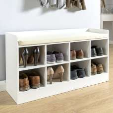 Manford Shoe Bench In White With Eight Open Compartments