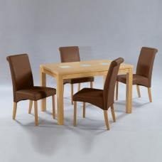 Manhattan Oak Veneer Dining Set With 4 Brown Dining Chairs
