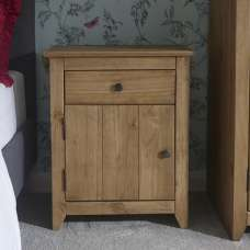 Manila Wooden Bedside Cabinet In Rustic Pine With 1 Door