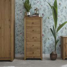 Manila Chest Of Drawers Tall In Rustic Pine With 5 Drawers