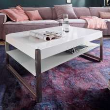 Mannix Wooden Coffee Table Rectangular In White With Glass Shelf