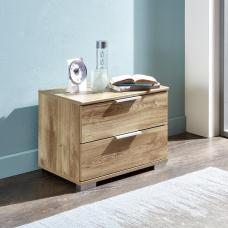 Mantova Wooden Bedside Cabinet In Planked Oak Effect