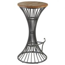 Maples Bar Stool In Wooden Seat With Metal Frame
