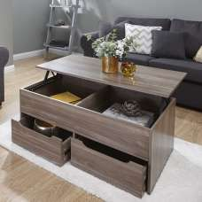 Marcello Storage Coffee Table In Walnut With Lift Up Top