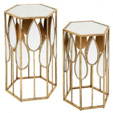 Marcelo Modern Glass Occasional Tables Set With Metal Frame