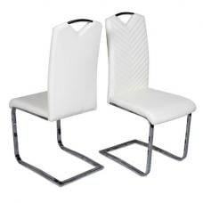 Marconi Cantilever Dining Chair In White Faux Leather In A Pair