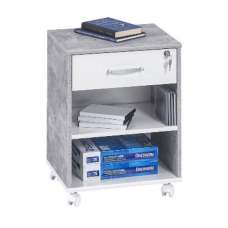 Marconie Wooden Office Cabinet In White And Concrete Finish
