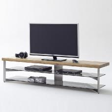 Marcos Large TV Stand In Solid Oak Top And Grey Glass