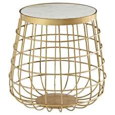 Maren Marble Top Circular Side Table With Brass Finish Frame