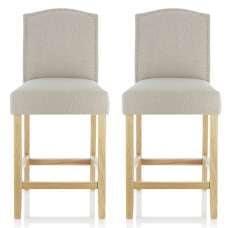 Maria Bar Stools In Mink Fabric With Oak Legs In A Pair