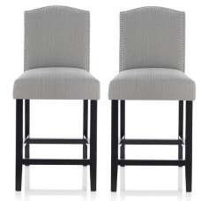 Maria Bar Stools In Monochrome Fabric With Black Legs In A Pair