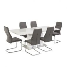 Mariana 6 Seater Extendable Dining Set In White High Gloss