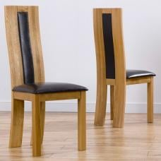 Marila Dining Chair In Black PU With Solid Oak Frame In A Pair
