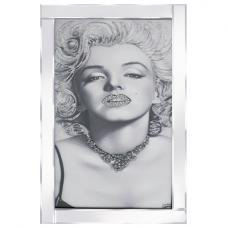 Marilyn Monroe Glass Wall Art In Mirrored Frame With Glitters