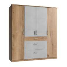 Marino Wardrobe Large In Planked Oak Effect And Light Grey