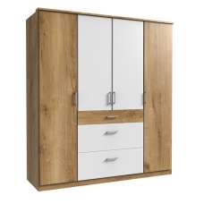 Marino Wooden Wardrobe Large In Planked Oak Effect And White